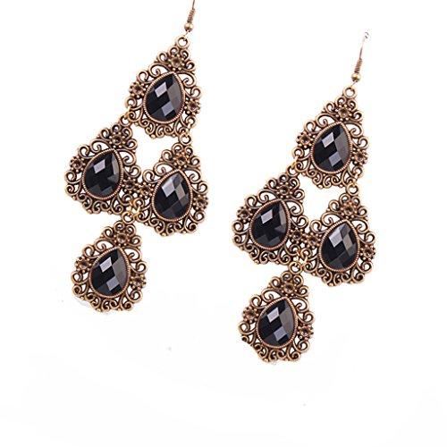 dailymall Pendientes Colgantes de Diamantes de Imitación de Cristal Bohemio Vintage para Mujer, Joyería de Estilo étnico - Negro