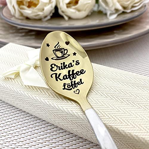 Kaffeelöffel mit Namen - Graviertes Geschenk für Kaffeeliebhaber - Kaffeegeschenk - personalisierter Löffel (Kit)