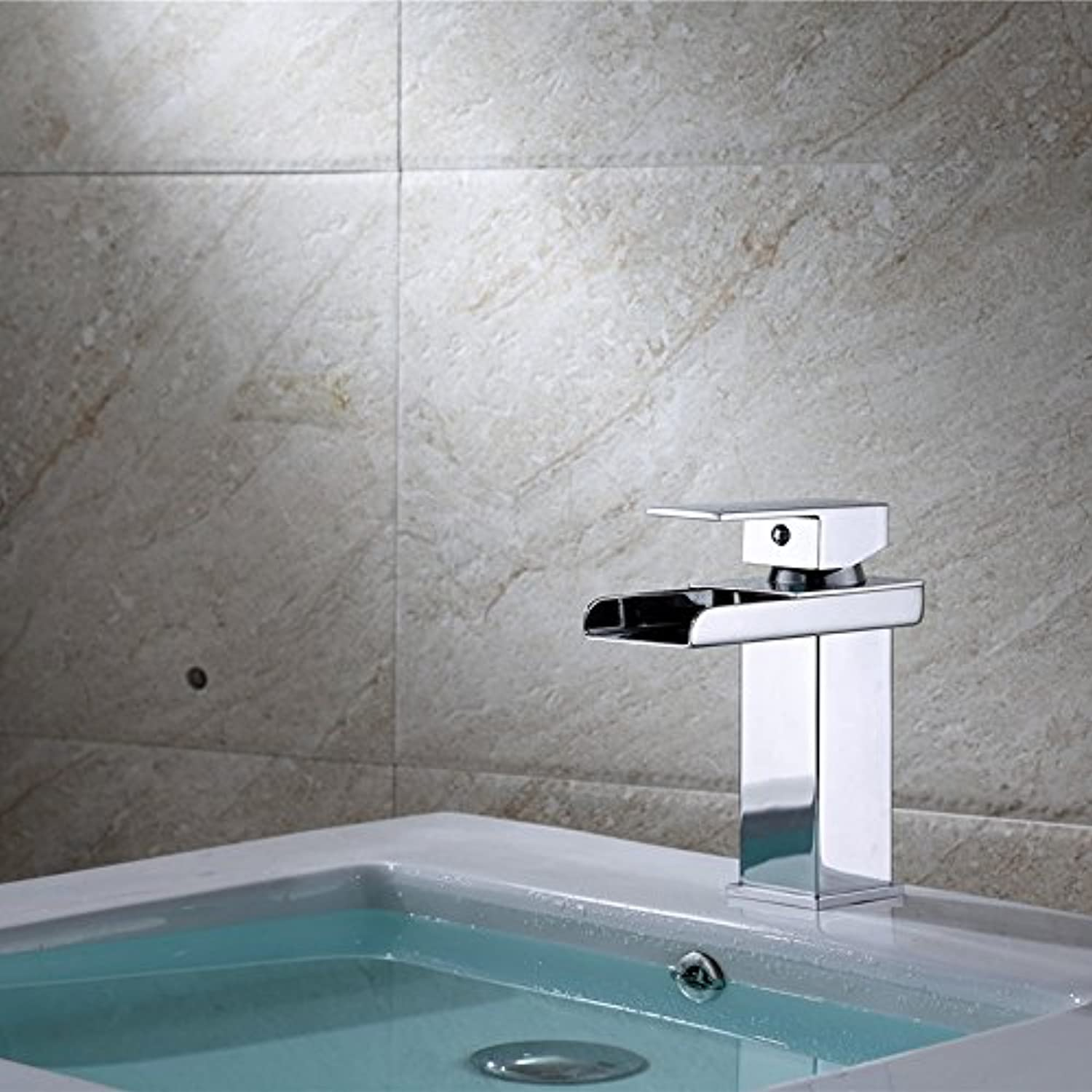 AOLOR Basin Stainless Steel Single Hole hot and Cold Waterfall Modern Taps Kitchen Brass Faucet Bathroom Sink Waterfall Tap Mixer Water Washroom Bath Tub Shower