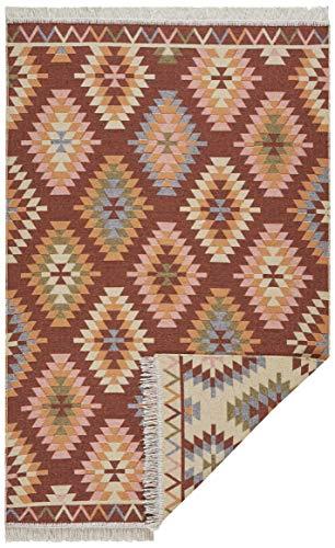 HANSE Home Tappeto Decorativo Double-Face, Motivo Tawi, 160 x 220 cm, Tessuto Piatto, Fatto a Mano, 100% Cotone, Frangia sui Lati Corti, Adatto per Riscaldamento a Pavimento, Pieghevole, Multicolore