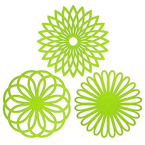 Juego de 3 alfombrillas salvamanteles de silicona en forma de flor - Buena calidad, flexible, resistente y antideslizante