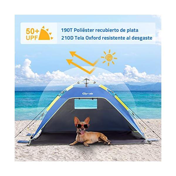 Glymnis Tienda de Playa Tienda Pop Up Portátil Tienda Instantánea Fácil de Instalar para 4 Personas con UPF 50+ Gran… 1