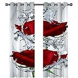 MENGBB Cortina Opaca Microfibra Infantil 230x180cm Flores Rojas en el Agua 95% Opaca Cortina aislantes de frío y Calor Decorativa con Ojales Estilo para Salón Habitación y Dormitorio