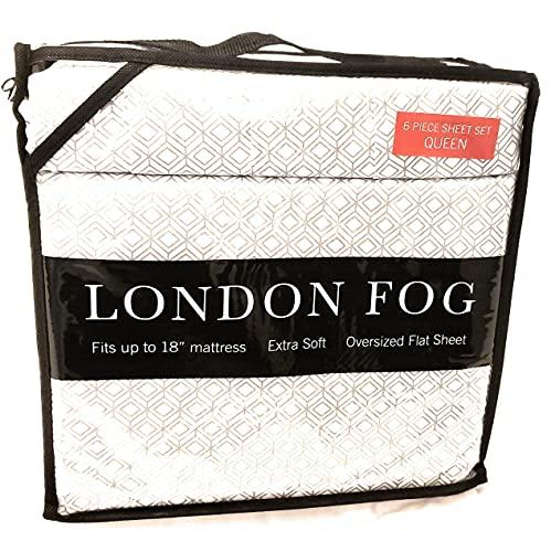 LONDON FOG Luxury Pattern Queen Sheet Set, 6 pcs, 100% Soft Polyester Microfiber (Gray/Tan Lattice)