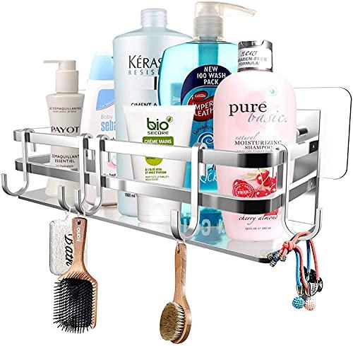 lidun Estantería de ducha de aleación de aluminio de alta calidad, montaje en pared, cesta de ducha organizadora con adhesivo, sin agujeros, estantería de almacenamiento para baño, ducha, cocina (05)