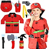 TOY Life Fireman Costume for Kids with Complete Fireman Toys Accessories-Role Play Fire Chief Costumes for Boys Dress Up Clothes for Play - Kids Firefighter Costume Gift for Kids 3 4 5 6 7 Year Old