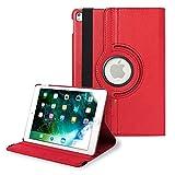 iPad Air 2 ケース 360度回転 アイパッドケース 保護カバー シンプル レザー 薄型 iPadケース (色 レッド) apple A1566 A1567