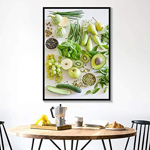 Terilizi Nordic Minimalist Hd muurkunst groente fruit wooncultuur foto's gezonde voeding canvas schilderijen modulaire keuken poster gedrukt C-60 X 80 cm geen lijst