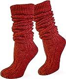 normani Kurze oder Lange Trachtensocken Trachtenstrümpfe Zopf Muster Socken meliert Farbe Rot extra lang Größe 43/46
