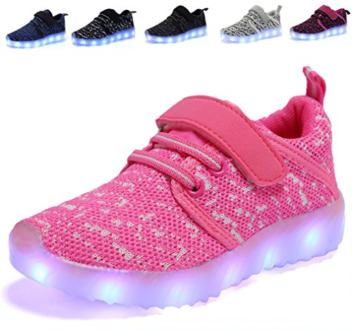 AoSiFu Kids Light Up Shoes Toddler Girls Boys Breathable Led Flashing Sneakers USB Charge Pink33