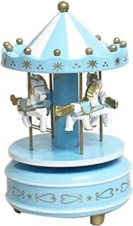 Wooden Merry-Go-Round Carousel Music Box for Kids Toys Wedding Birthdays Gift Wind-Up Horse Fairground Musical Box