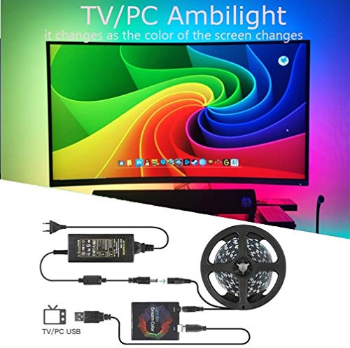 SLKQQQIQ DIY Ambilight TV PC Dream Screen USB Led Strip, 5050 RGB Dream Color ws2812b Strip 7 Scenes Mode Strip Light para TV PC Kit Monitor Gaming Room (Size : 3m)