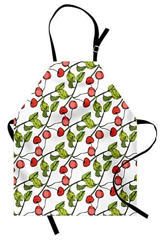 ABAKUHAUS Cerise Tablier, Feuillu Branche Fruit Cartoon, Produit Unisexe avec Col Réglable pour Cuisine et Jardinage, Corail Vert Pomme Blanc