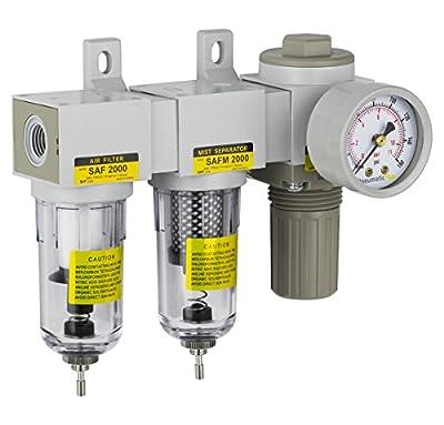 "PneumaticPlus SAU2030M-N02G Mini Three Stage Air Drying System, 1/4"" NPT - Particulate Air Filter, Coalescing Filter, Air Pressure Regulator Combo - Poly Bowl, Manual Drain from PneumaticPlus"