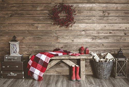 YongFoto 2,2x1,5m Fondo de Fotografia Navidad Guirnalda Alfombra Maleta Silla Madera Botas Cesta Linterna Pared Wood Interior Telón de Fondo Fiesta Niños Baby Retrato Estudio Fotográfico Acces