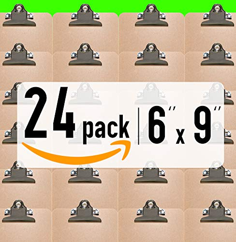 HIGH CAPACITY clip - Mini Clipboards 6'' x 9'' [ 24 Pack ] - Solid made Memo Size hardboards A5   Perfect for Office, School or Business