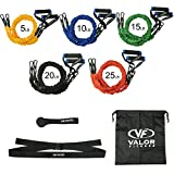 Valor Fitness Resistance Cables - Stackable Resistance Bands Set Band Workout System with Heavy Resistance Bands Door Attachment