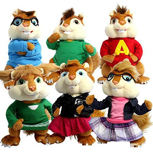 25cm 6pcs / Lot New Alvin Und Die Chipmunks Alvin Theodore Simon Bretagne Jeanette Eleanor Plüsch Kuscheltier Spielzeug 25cm 6 Stück