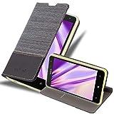 Cadorabo Hülle für Nokia Lumia 625 in GRAU SCHWARZ - Handyhülle mit Magnetverschluss, Standfunktion & Kartenfach - Hülle Cover Schutzhülle Etui Tasche Book Klapp Style