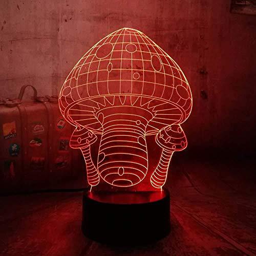 Boutiquespace Illusion Luz de Noche 3D Seta LED Mesa Lámpara de Escritorio 7Colores USB Carga Iluminar Dormitorio de los Niños Decoración de Navidad Halloween Regalo de Cumpleaños