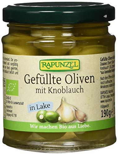 RAPUNZEL Oliven grün, gefüllt mit Knoblauch in Lake, 3er Pack (3 x 110 g) - Bio