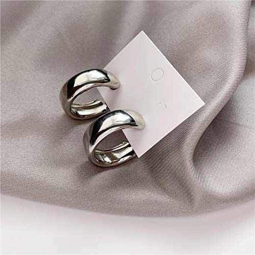 Earring Minimalist Gold Silver color Metal Large Circle Geometric Round Big Earrings for Women Girl Wedding Party Jewelry silver