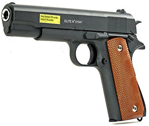Nerd Clear Softair-Pistole Stahl Waffe Airsoft Vollmetall schwarz braun Federdruck ca. 500 g schwer ab 14 Jahre unter 0,5 Joule 6 mm ca. 22 cm lang