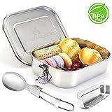 Masgalacc Brotdose Edelstahl mit herausnehmbarer Fächern und zusammenklappbarer Löffel- BPA