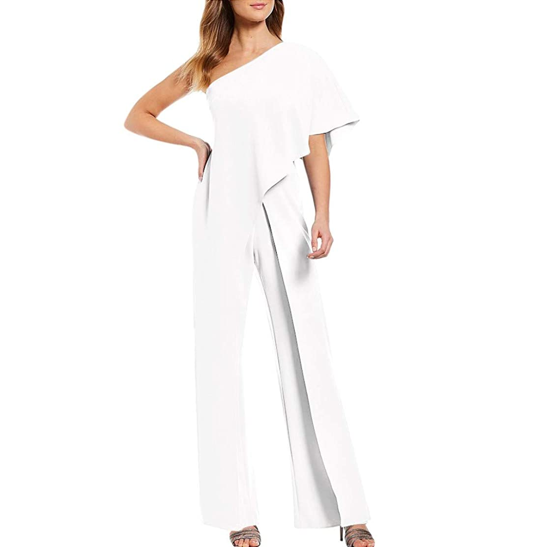 Kexdaaf Long Jumpsuit, 2019 New Womens Ladies Solid Cold Shoulder Casual Loose High Waist Playsuit Party Elegant Trouser