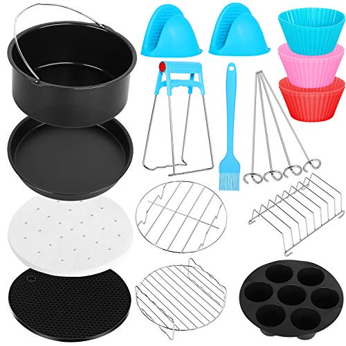 Air Fryer Accessories 12 PCS for Ninja Gowise Gourmia COSORI Ultrean Power XL Air Fryer, Fit 3.2-4.0-5.8QT Air Fryer with 7 Inch Cake Pan, Pizza Pan, Silicone Baking Cup, Skewer Rack, Parchment Paper