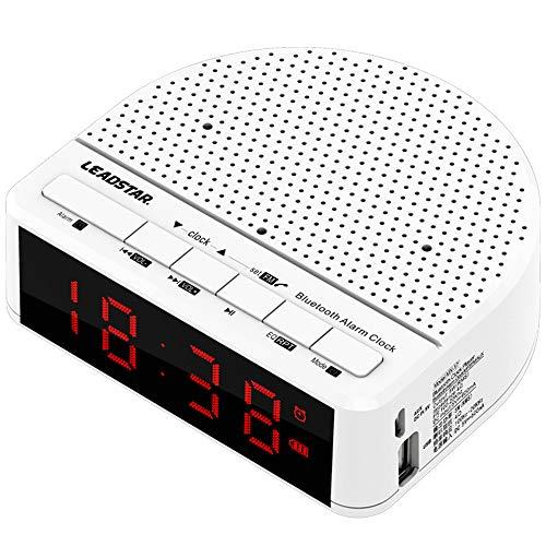 Mengen88 draadloze Bluetooth 4,2 mini-luidspreker, 1080 mAh, subwoofer-kaart, muziek, wekker met afstandsbediening, houder voor mobiele telefoon, wit