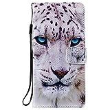 Sunrive Hülle Für Lenovo Moto G4 Play, Magnetisch Schaltfläche Ledertasche Schutzhülle Etui Leder Hülle Cover Handyhülle Tasche Schalen Lederhülle MEHRWEG(W18 Weißer Leopard)
