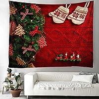 クリスマスタペストリークリスマスパターン壁掛け家の装飾リビングルーム寝室の壁アート180x180cm