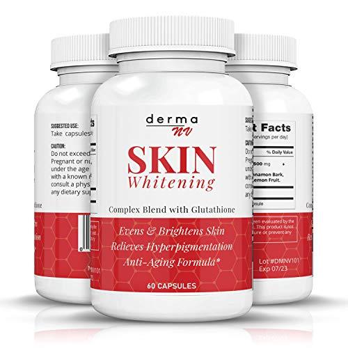 Glutathione Whitening Pills-3000mg Glutathione Whitening Pills -Acne Scar & Dark Spot Remover -Better Than Skin Whitening Cream-Natural Skin Lightener -Anti-Aging & Antioxidant Formula -Derma NV