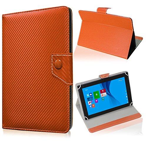 UC-Express Tablet Tasche für Medion Lifetab S10345 S10346 Hülle Schutzhülle Carbon Case Bag, Farben:Bronze
