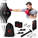 Double End Bag Boxing Set - Double Ended Punching Ball - Speed Striking Reflex Kit with Fully Adjustable Cords - PU Leather Punch Bag with Hand Wraps, Complete Installation Kit & Carry Bag