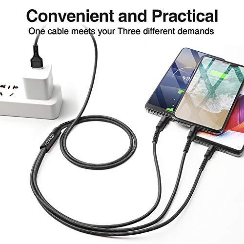 RAVIAD Multi USB Ladekabel 1.2M Nylon 3 in 1 Mehrfach Ladegert Kabel Micro USB Typ C Ladegerät Kabel für Android Galaxy S9 S8 S7 A5 J5, Huawei P20, Honor, Oneplus, Sony, LG, Kindle