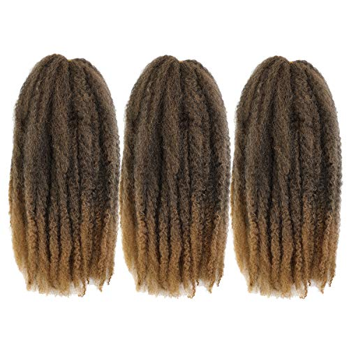 4Packs Cuban Twist Hair 16 inch Afro Kinky Curly Marley Braids Hair Extension Marley Hair For Twists Synthetic Fiber Marley Braiding Hair For Havana Twist or Faux Locs (T1B/27#)