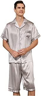 Mens Short PJS 100% Silk Pajama Set Short Sleeve Shirts and Pants Casual Solid color Loungewear Nightwear-sliver_XL