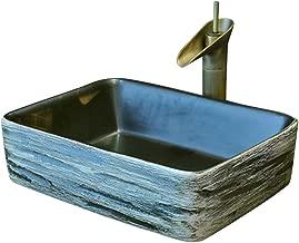 Wash Basin Sink Cloakroom Hand Sink Corner Wash Basin Bathroom Ceramic Bowl Vessel Sinks (Color : Black, Size : 483715cm)