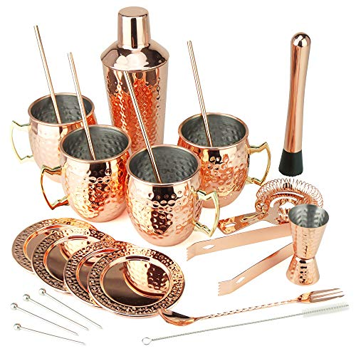 PG Moscow Mule/Bartender SS Copper Plated Set 25PC | 3pc Cocktail Shaker, 4x Mugs, 4x Straws, 4x Cocktail Picks, Straw Cleaner, 4x Coaster, Strainer, Tongs, Muddler, Jigger, Stirrer