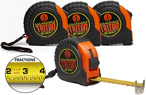 4 Pack - Triton Pro X - 25 Foot - Easy Read Fractions - Magnetic Tip - Dual Sided Tape - 1 Inch Wide Blade with Nylon Coat No Glare Finish - (Feet, Inches, Centimeters) (4, red/black)