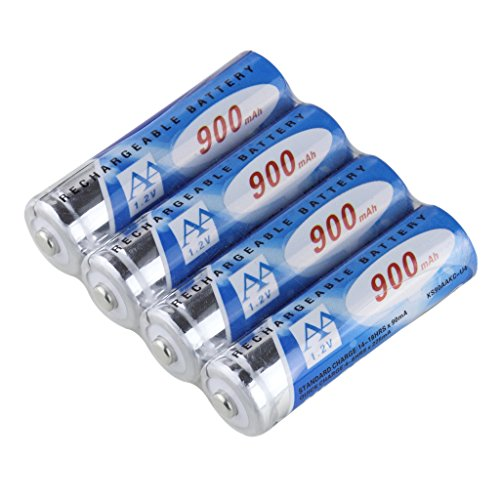 KINSUN 4-Pack Rechargeable Batteries 1.2V Ni-Cd AA 900mAh for Outdoor Solar Garden Light Landscape Lights Path Lights