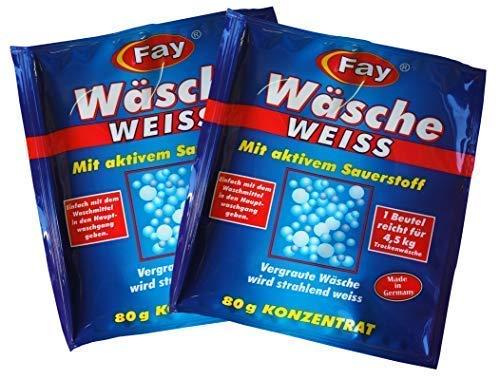 2 x Fay Wäsche Weiss Konzentrat 80g, Aufheller, Aktiv-Sauerstoff, Waschmittel