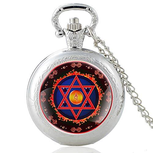 2021 TendenciaEstrella de David ColganteIsrael Judaísmo Reloj de Bolsillo de Cuarzo Encantos religiosos para Hombres y Mujeres PA509-Plata