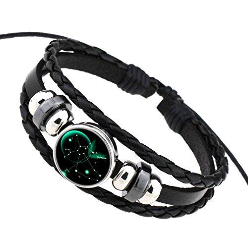 COMVIP Pu Leder Damen Herren Sternbild Form Armbänder Armkette Armkettchen Mit Horoskop Anhänger Schütze