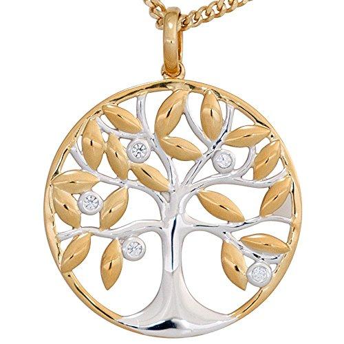 Anhänger Amulett Baum Lebensbaum mit Brillanten 585 Gold Gelbgold 24,7mm Damen