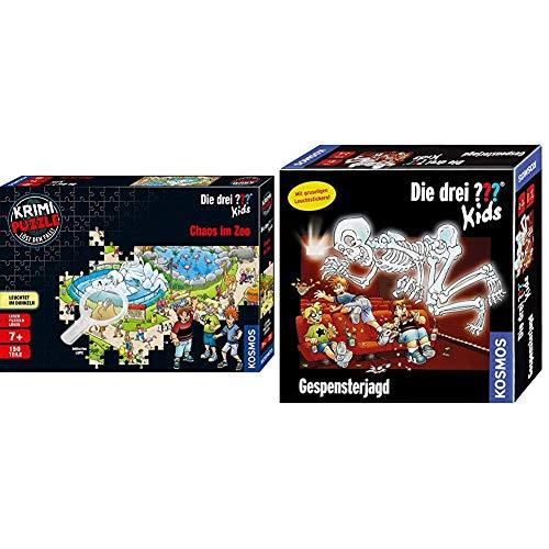 Kosmos 697990 - Krimi Puzzle: Die DREI ??? Kids - Chaos im Zoo, Leuchtet im Dunkeln. 150 Teile, inkl. kleine Lupe, Lesen - Puzzeln - Rätsel lösen& Spiele 697686 - Die DREI ??? Kids - Gespensterjagd