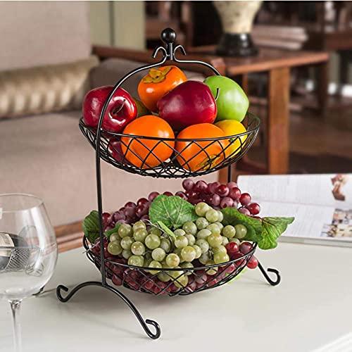 Soporte de la cesta de la fruta para la sala de estar, el soporte de la fruta de la moda creativa,  -tier artes de la cocina del hierro Estante de almacenamiento de la cocina para la verdura de la fr
