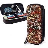 Lambert - Estuche de lápices de cuero de gran capacidad de apellido americano, lápiz, lápiz, papelería, organizador, marcador universitario, bolsa de cosméticos portátil